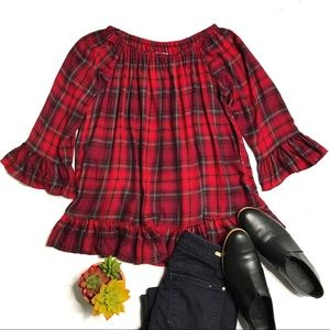 For The Republic Red Plaid Ruffle Top